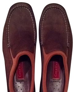 Cole Haan Leather Brown With Rust Trim Mules