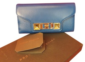 Proenza Schouler BLUE TEXTURE LEATHER PS11 CONTINENTAL CLUTCH WALLET