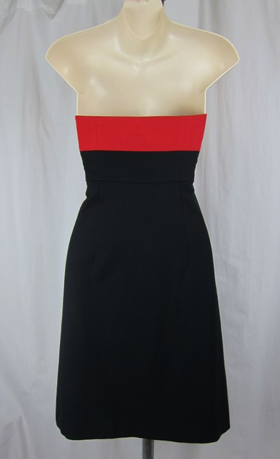 Theory Strapless Red Black Stretch Nordstrom Bloomingdales Neiman Marcus Sexy Wiggle Fitted Dress
