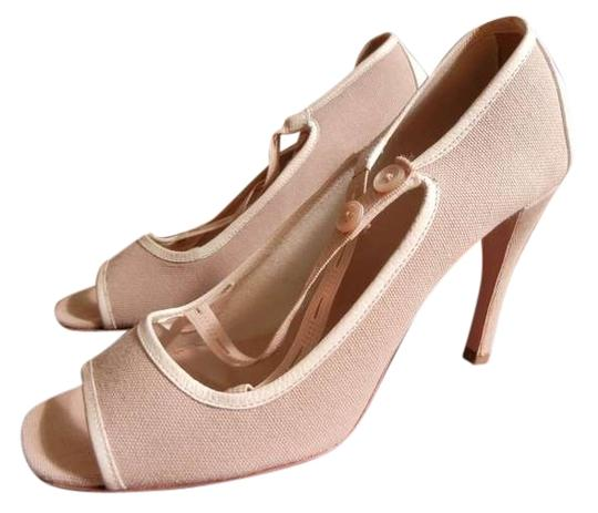 Prada Peep Toe Corda/Tan Pumps