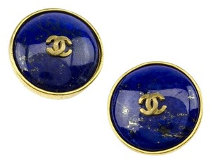 Chanel Chanel Vintage Round Blue Earrings