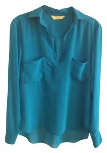 Aaron Ashe Wear To Work Sheer Sloan Top Teal
