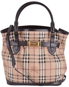 Burberry Shopper Purse Haymarket Tote in Brown