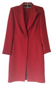 Kasper Exquisite Red Long Coated Skirt Suit