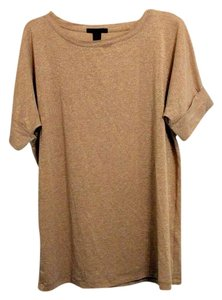 Mango Oversized Mng Scoop Neck Metallic T Shirt Gold