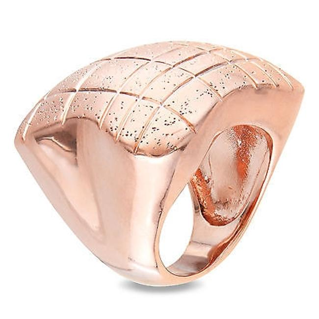 Item - 18k Rose-gold Plated Cocktail Ring With Matte Sparkling Finishing