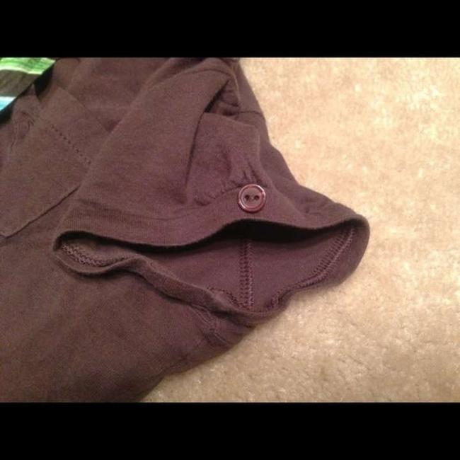 Other Neck Stripe Cap Sleeves T Shirt brown