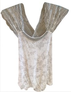Free People Boho Peasant Grey/white Sz Xs Top