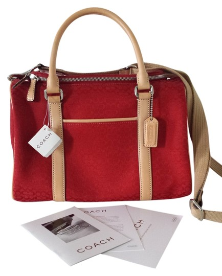 Coach Signature Leather Fabric Vintage Satchel in Red