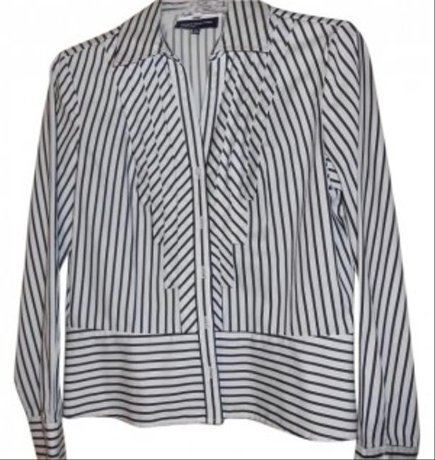 Jones New York Button Down Shirt black and white