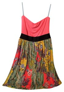 Lush short dress pink, black, yellow, multi on Tradesy
