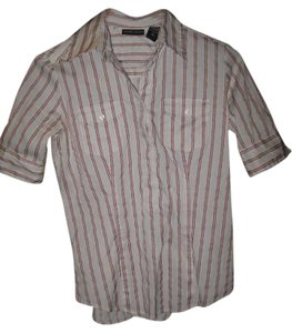 New York & Company Button Down Shirt Red and off white stripes