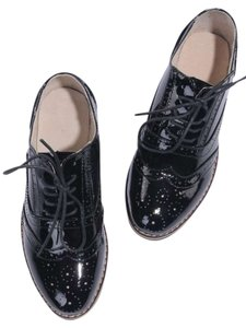 OASAP Wingtips Patent Leather Oxford Lace Up BLACK Flats