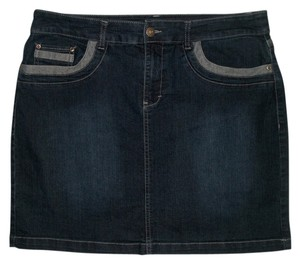 Christopher & Banks 5 Pocket Style * Zip Fly * Button Waist Closure * Cotton/Poly/Spandex * Above The Knee Skirt Dark Blue