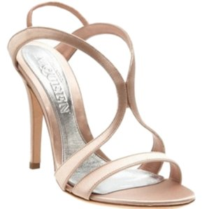Alexander McQueen Strappy Blush Satin Nude Sandals