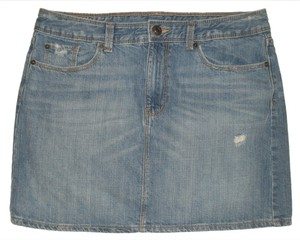 Gap 5 Pocket Style * Zip Fly * Waist Closure * 100% * Machine Washable Mini Skirt Destructed Light Fade Blue