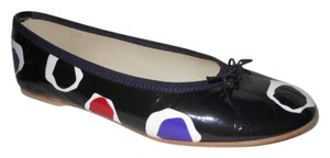 French Sole Leather black multi Flats
