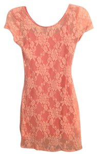 Hollister short dress Pink Peach Lace Bodycon on Tradesy