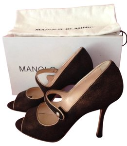 Manolo Blahnik Stiletto Open Toe Suede Mary Jane Suede Bronze Pumps
