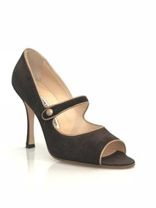 Manolo Blahnik Stiletto Open Toe Suede Mary Jane Bronze Pumps