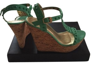 Cork Wedge Studded Mint Platforms