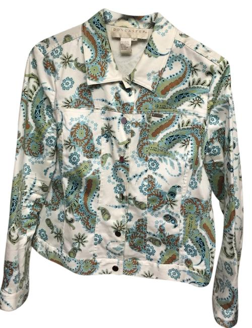 Doncaster White Turquoise Green Jacket