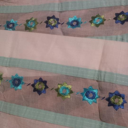 Pink Blue White 6 Pieces Vintage Shabby Embroidered Fabric ~ For Shabby Runners Reception Decoration
