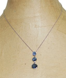 New York & Company Signed New York & Company Silver Tone Blue Crystal Journey Pendant Necklace