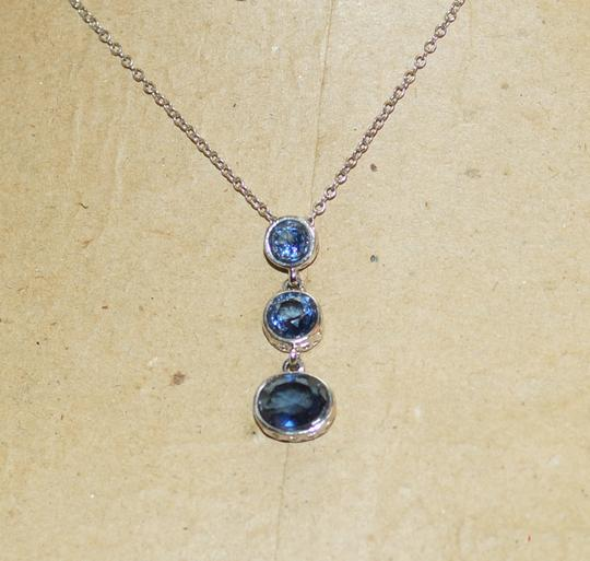 New York & Company Silver Tone Blue Crystal Journey Pendant Necklace