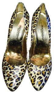 Dolce&Gabbana Beige, Brown And Tan Leopard Print Leather Pumps