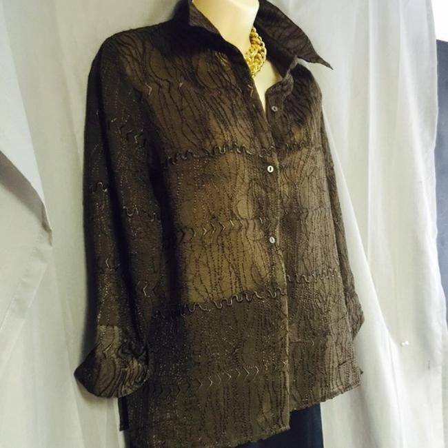Other Milano Like New Embroidered Brown Shirt M Top