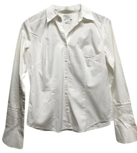 Ann Taylor LOFT Button Down Embroidery Button Down Shirt White