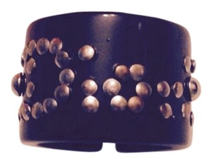 Dior Black Translucent Ring With Aged Silver Studs