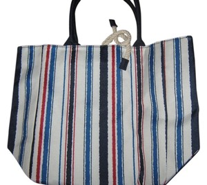 Estée Lauder Cream w/red, navy blue, and blue stripes Beach Bag