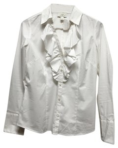 Ann Taylor LOFT Ruffles Weekend Work Attire Button Down Shirt White