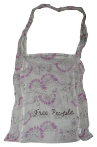 Free People Tote in Cream w/pink design