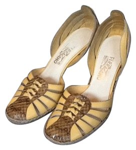 Salvatore Ferragamo Ferragamos Summer Yellow and Snakeskin Wedges
