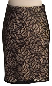 Ann Taylor Leaf Print Lace Lace Skirt Black And Beige
