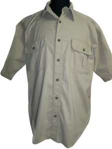 Cabela's Men's Cabela Cotton Khaki Tan Shirt, Size Large