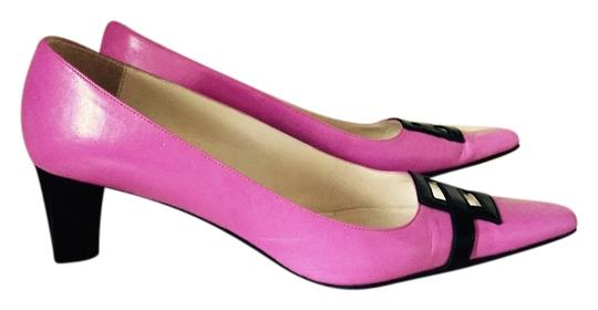 Michel Perry Leather Cut-out Pink Pumps