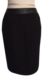 Ann Taylor Lace Leather Skirt Black
