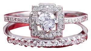 Luxury Double Square Wedding Ring 0.75 Cubic Zirconia Sizes 6 Availables