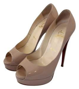 Christian Louboutin Classic Lady Peep 150mm Nude Pumps