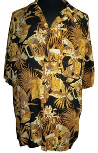 Panama Jack Panama Jack's Mens Shirt, Hawaiian Print in Black/Yellow/Golds, Size XXX-LG