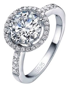 Luxury 2.75 Carat CZ Halo Engagement Sterling Silver Ring