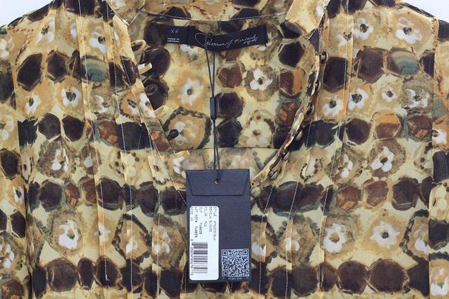 Paterson Kincaid Shirt Designer Business Top yellow and earth tones