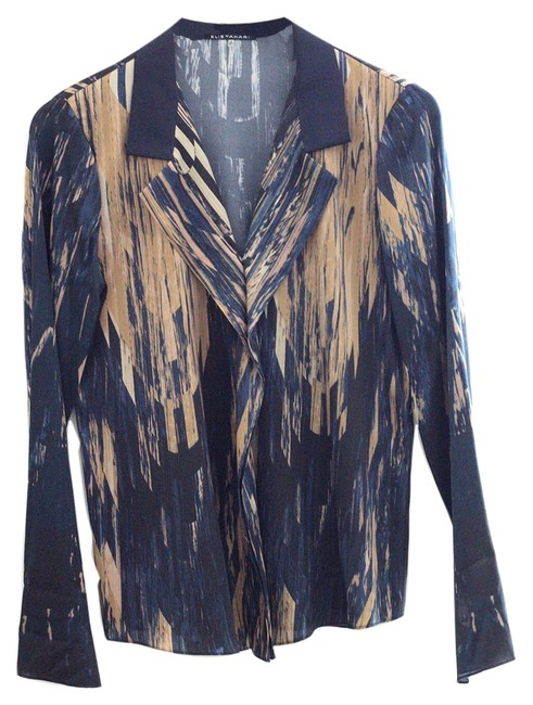 Elie Tahari Shirt Office Party Button Down Shirt tan and navy