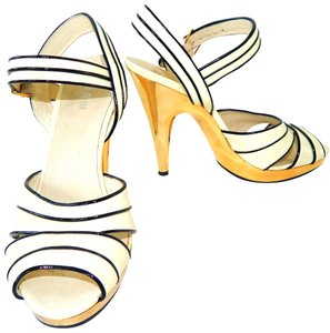 Miu Miu Metallic Patent Leather Platform Gold Ivory Sandals