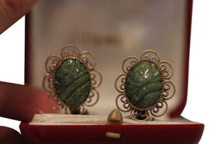 Majorica Majorica - Winard Vintage Jade clip on earrings