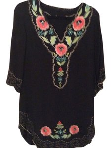 short dress black with embroidered flowers on Tradesy